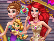Play Anna And Ariel Princess Ball Dress Up