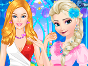 Play Barbie And Elsa Casual Fashion