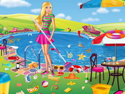 Play Barbie Swimming Pool Cleaning