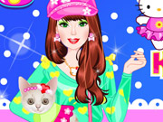 Play Barbie With Kitty Dressup