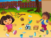 Play Dora And Diego Playing Football