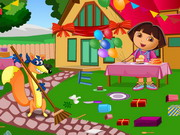 Play Dora Birthday Bash Cleaning