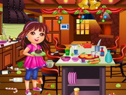 Play Dora Christmas Kitchen Cleaning