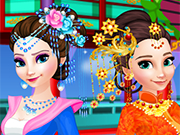 Play Elsa And Anna Chinese Dressup