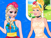 Play Elsa Vs Cinderella Blonde Contest