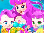 Play Mermaid Gives Birth Twins