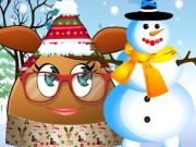 Play Pou Girl Building A Snowman