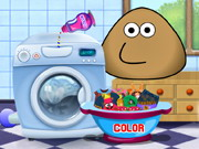 Play Pou Washing Clothes
