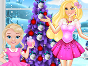Play Princess Barbie and Baby Barbie Christmas fun