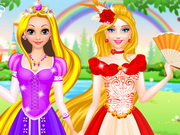 Play Rapunzel And Barbie Dress Up