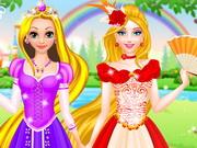 Play Rapunzel And Barbie Dress Up