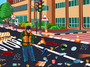 Play Sanitation Worker Cleaning Road