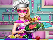 Play Super Barbie Real Cooking